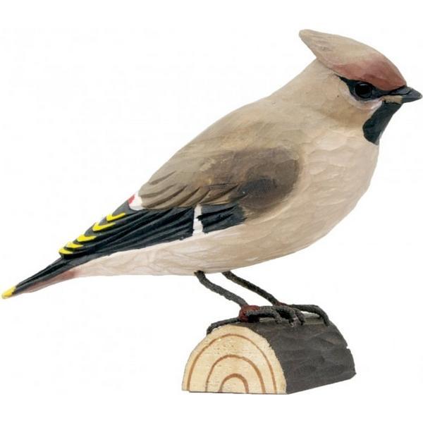 Pestvogel Waxwing in lindenhout handgemaakt
