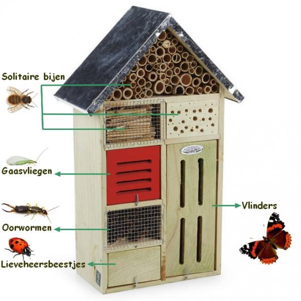 Groot insectenhotel 7 gastenkamers