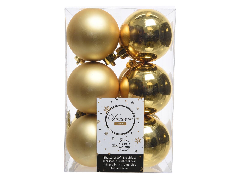 Kerstbal 6 cm Lichtgoud