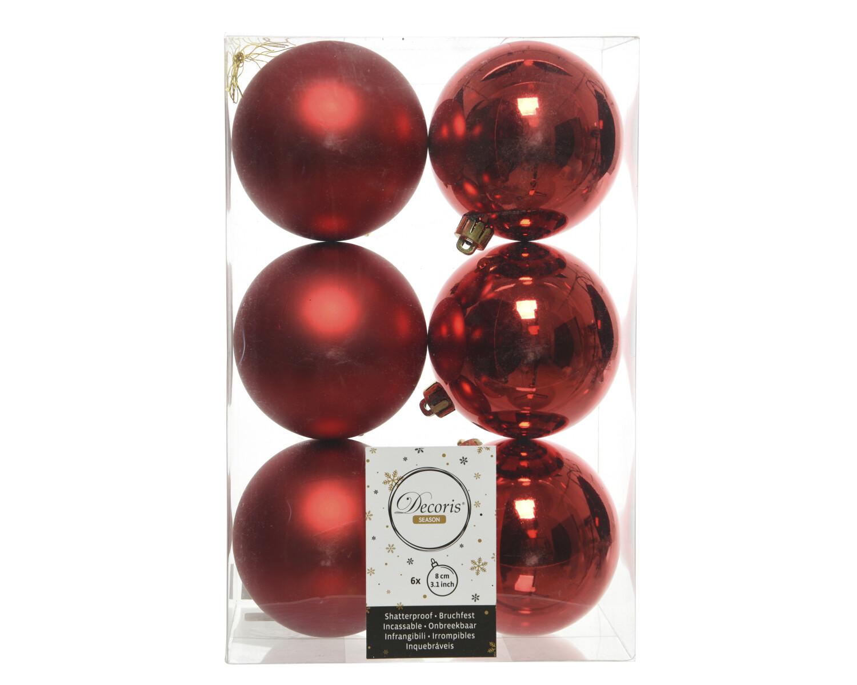 Kerstbal 8 cm Kerstrood