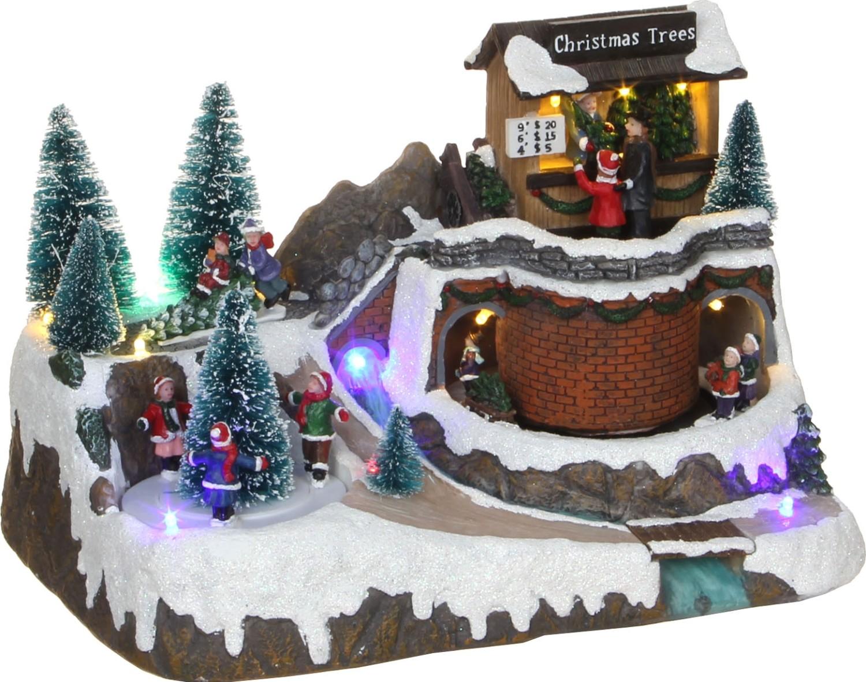 Kerstdorp met kerstboom verkoop