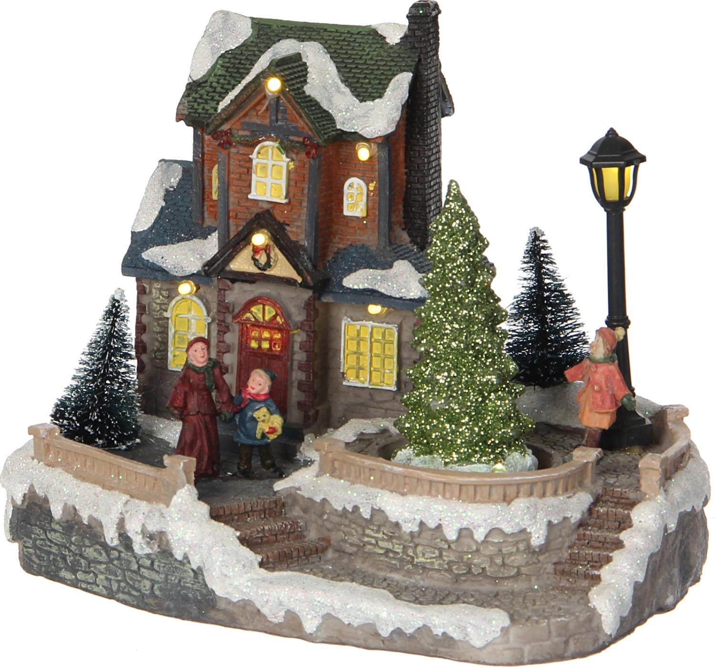 Kersthuis groen en blauw dak