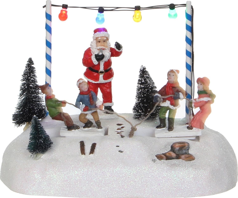 Kersttafereel touwtrekken