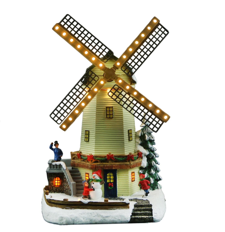 Kersttafereel draaiende windmolen