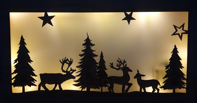 Kersttafereel met LEDhout
