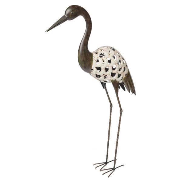 Kraanvogel in metaal tuinbeeld