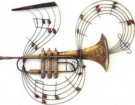 Muurdecoratie trompet met muzieknoten