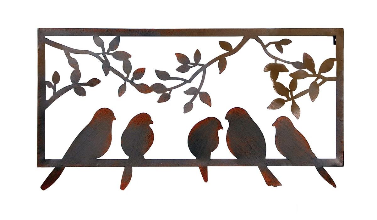 Muurdecoratie vogels in frameroest