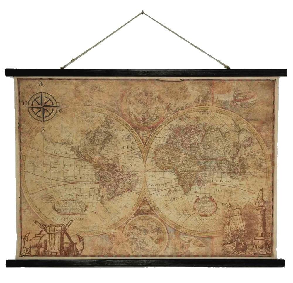 Muurdoek klassieke wereldkaartvintage