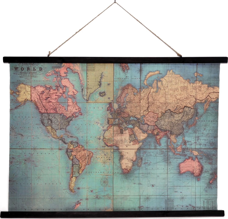 Muurdoek wereldkaartschoolplaat vintage