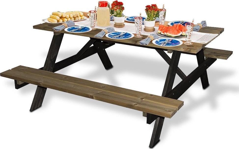 Picknicktafel AMBIANCE grenenhout met zwarte poten