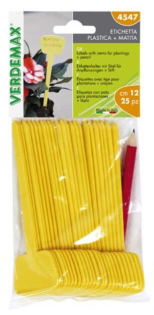 Plantenlabels met potlood geel