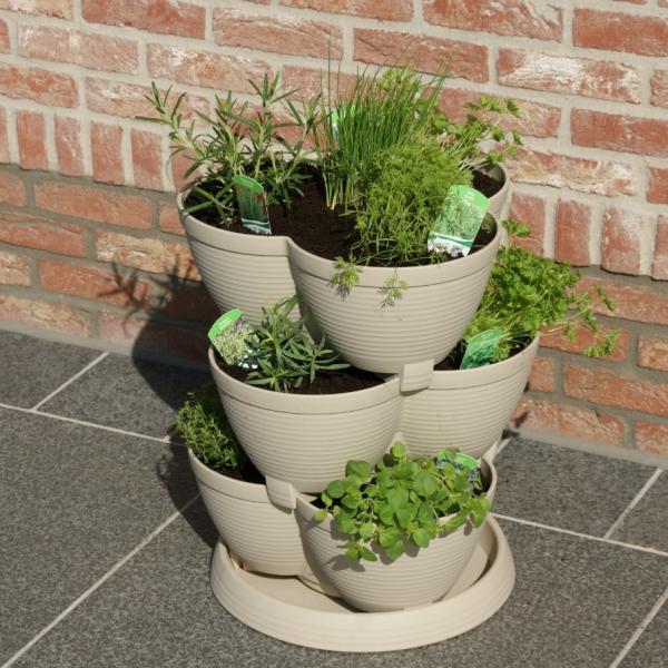 Planttoren steengrijs medium