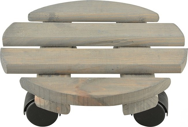 Planttrolley rond hout25 cm