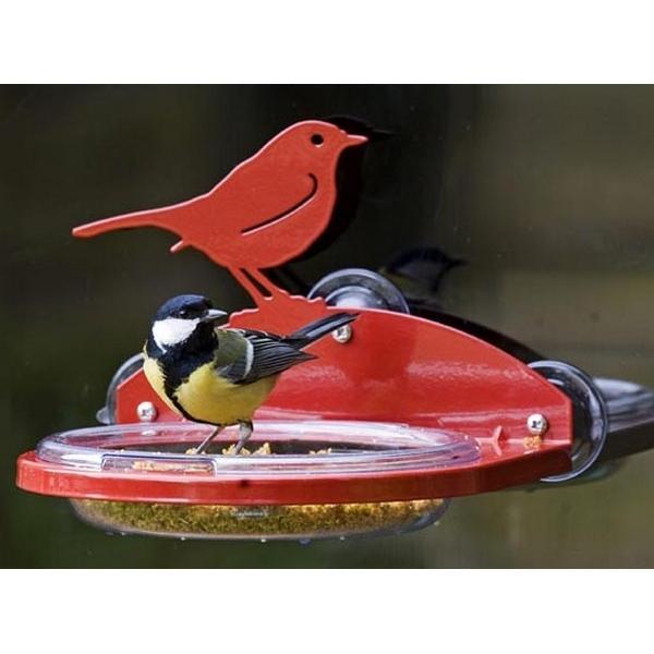 Raamvoederschaal met vogelsilhouet rood