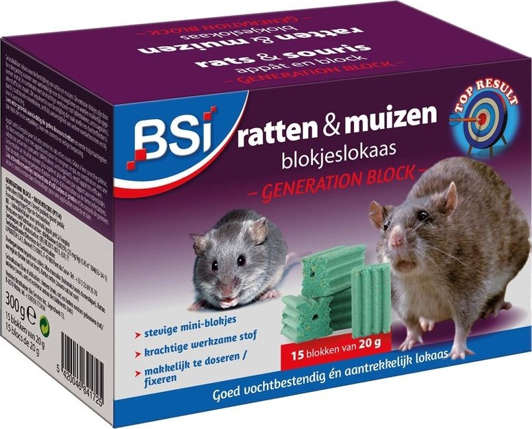 Ratten en muizengif blokjes300 g