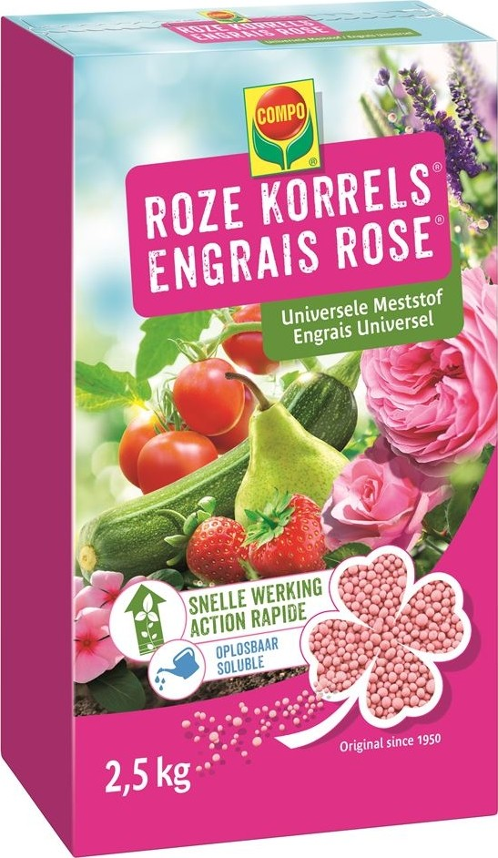 Roze korrels universele meststof 25 kg