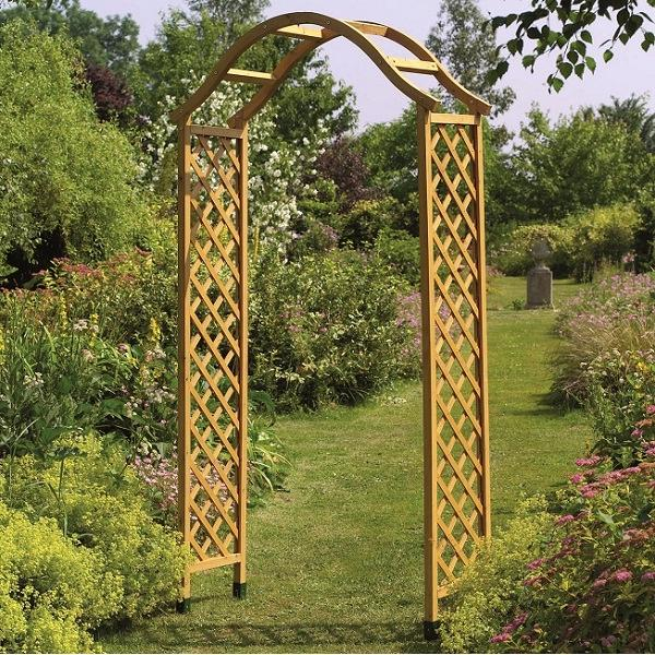 Elegante houten rozenboogbruin 114 x 40 x 218 cm