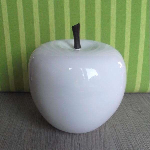 Appel in polyresin wit appel decoratie - Deco wit ...