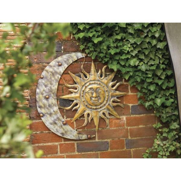 muurdecoratie maan en zon van metaal om omhoog te hangen
