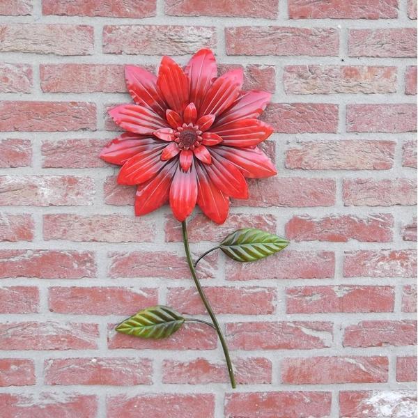 Wanddecoratie rode bloem kopen wanddecoratie in metaal for Buitenmuur decoratie
