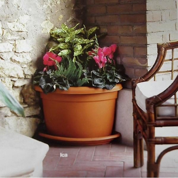 Stevige bloembak hoekmodel met onderschaal in kunststof voor buiten op het terras of in de tuin - Buiten terras model ...