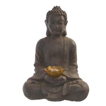 Boeddha Met Led Verlichting.Boeddha Met Led Verlichting Op Zonne Energie