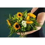 Boeket Heleen, large gebonden  zonnebloemen - geel/wit