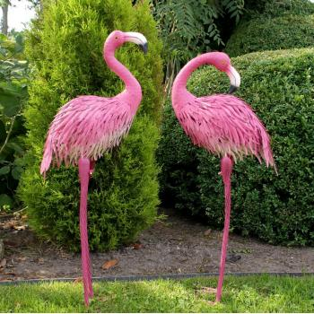 Flamingo duo in metaal