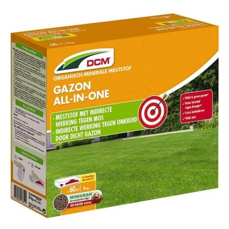Gazon all-in-one meststof DCM - 3 kg
