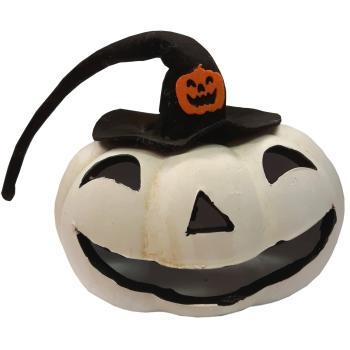 Halloween Pompoen Kopen.Halloween Pompoen Wit Met Hoed