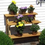 Houten bloementrap - bloemenrek (RECHT)