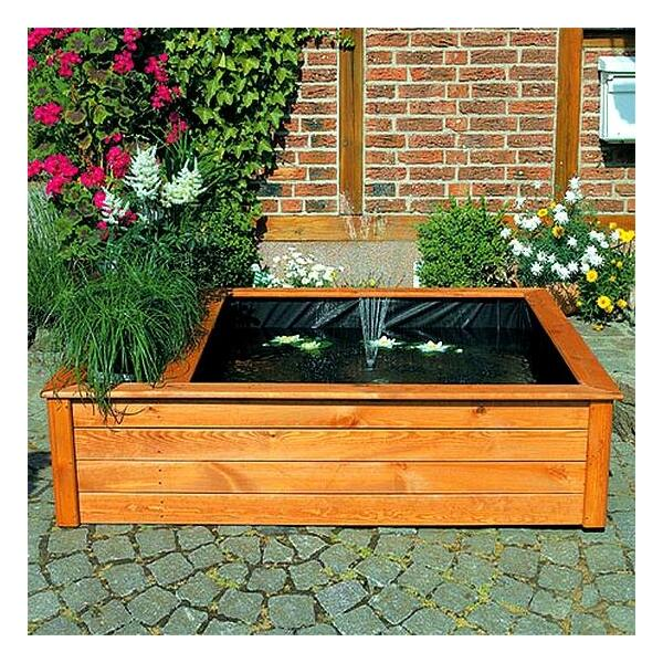 Verhoogde vijverbak met fontein en plantzone kopen mooie for Houten vijverbak