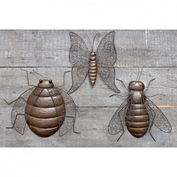 wanddecoratie insecten vlinder bij en kever om tegen de