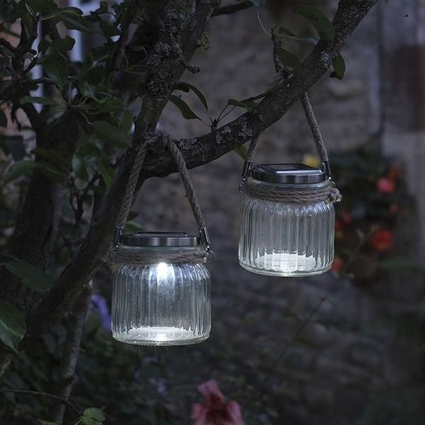 Glazen lantaarn met led verlichting op zonne-energie kopen ...