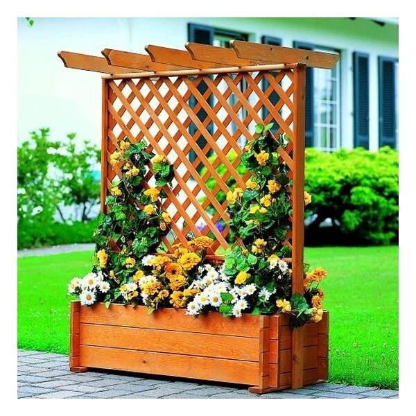 Houten plantbak met pergola kopen verticale groenwand - Terras met houten pergolas ...