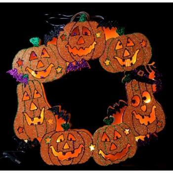 Pompoen En Halloween.Halloween Pompoen Krans 10 Led