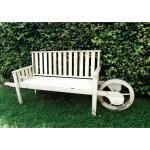 Houten tuinbank met karrenwiel