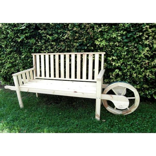Houten tuinbank met karrenwiel kopen   gemakkelijk verplaatsbare houten tuin