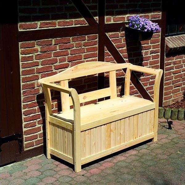 Houten zitbank met opbergbox kopen   relaxen in de tuin