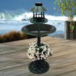 Voedertafel met vogelbad en solarverlichting