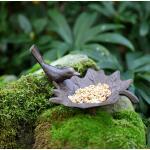 Vogelbad gietijzer / vogel op blad