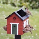 Vogelvoederhuis met bad - rood