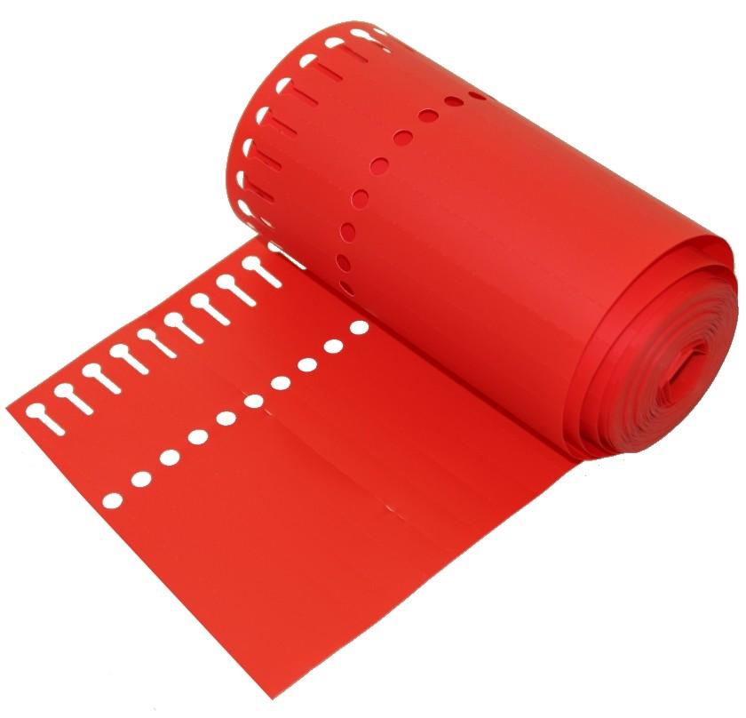 Sleufetiketten op rol rood