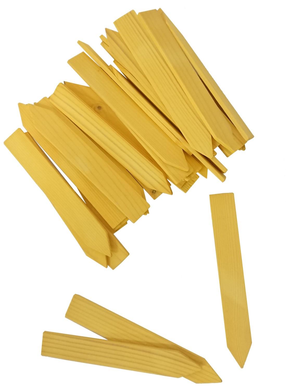Steeketiket houtgeel 12 cmca 35 stuks