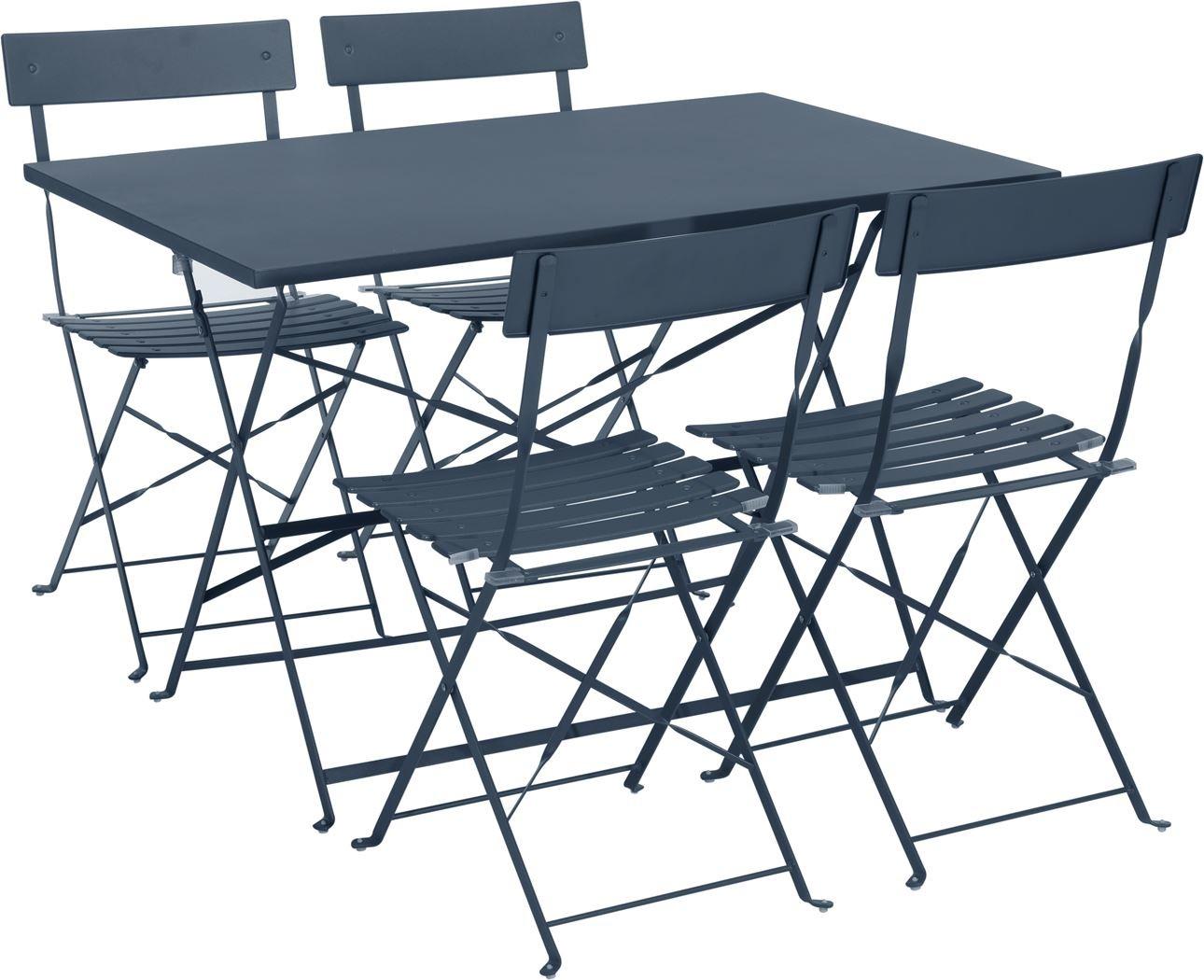 Tuinset bistro staalblauwtafel met 4 stoelen