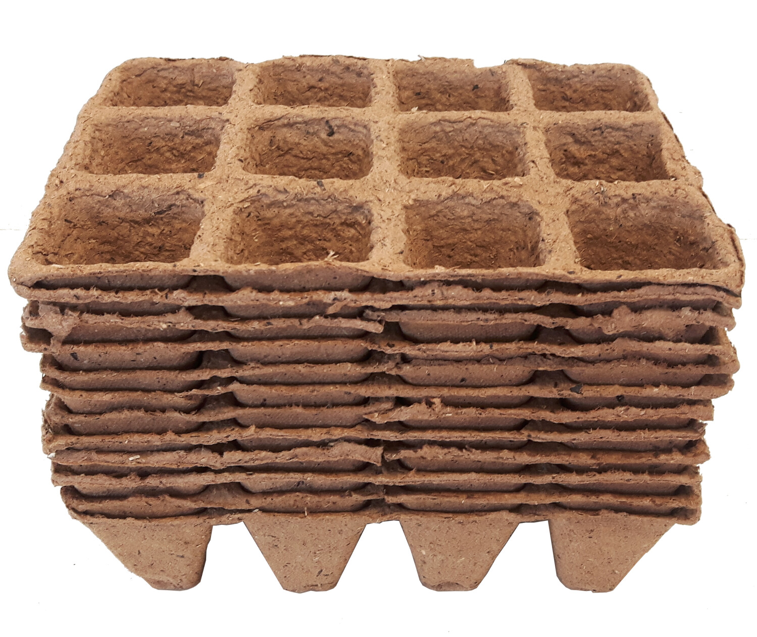 Vezelpotjes vierkant 5 x 5 cm biologisch afbreekbaar