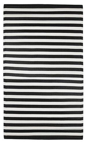 Vloerkleed outdoor strepen zwart 180 x 120 cm