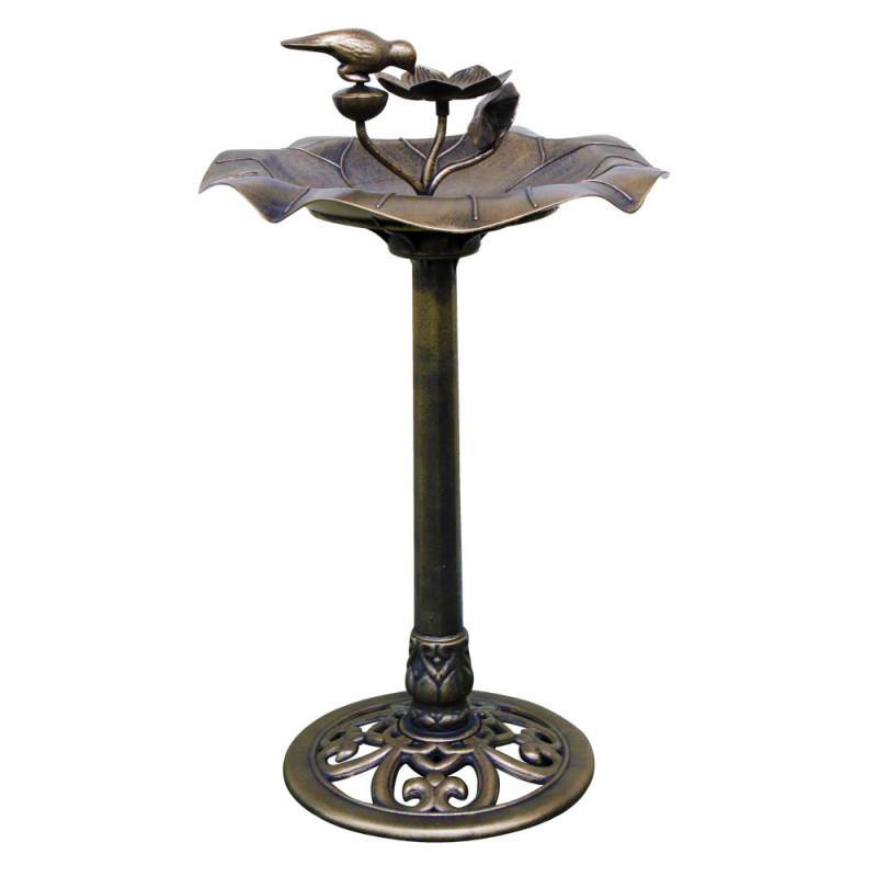 Vogelbad met voederschaalkunststof bronseffect