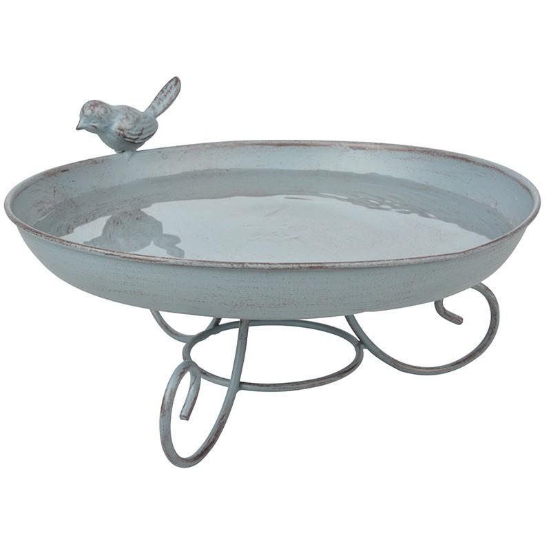 Vogelbad staand grey metal
